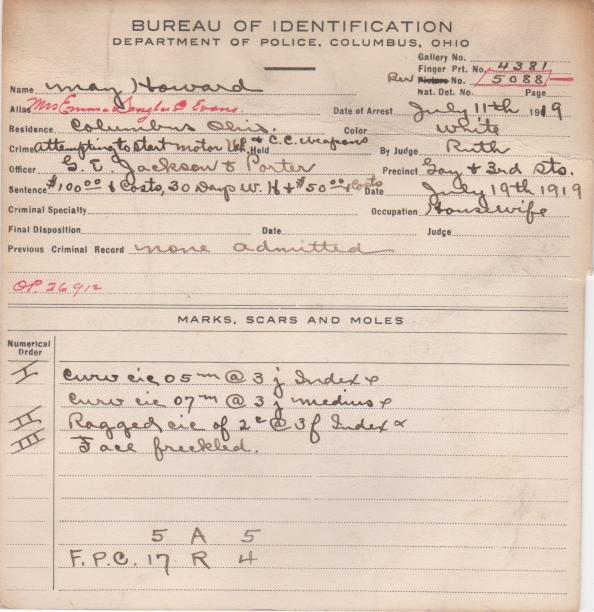 May Howard 1919 back