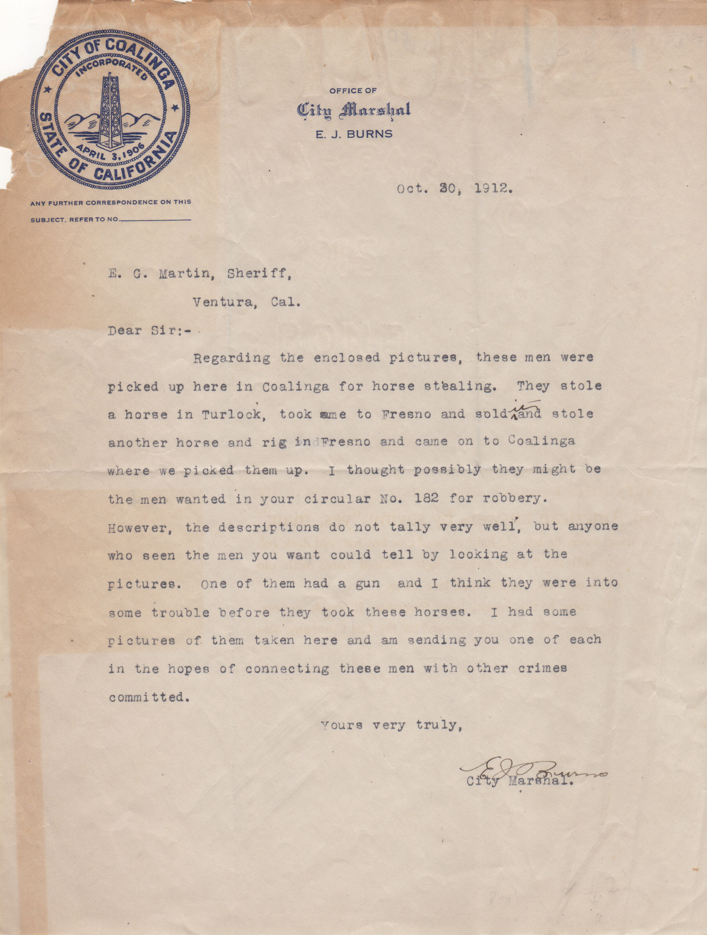 horse thief letter